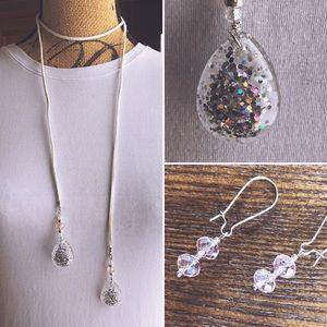 Jewelry - White Leather & Dew Drop Necklace w/Earrings